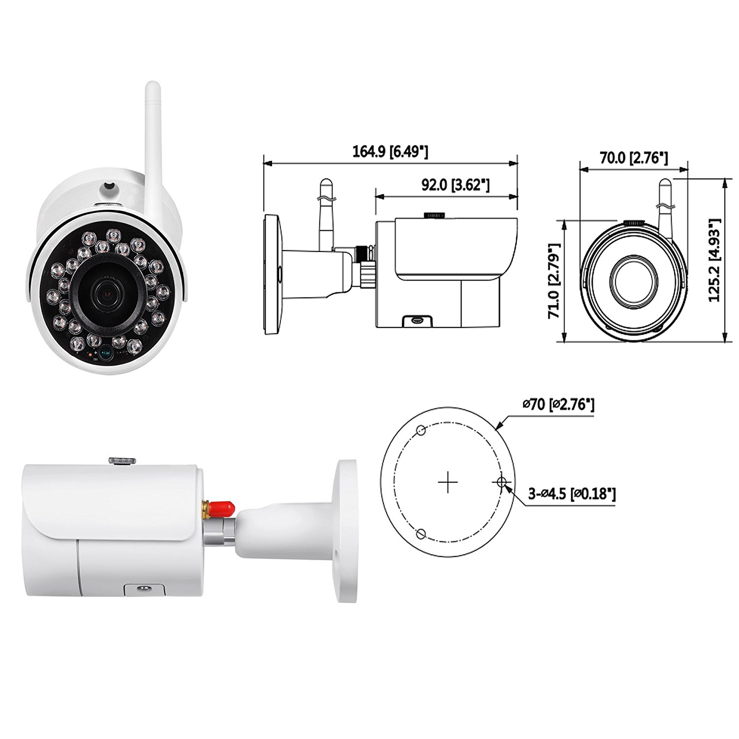 IPC-HFW1320S-W Dahua CCTV IP Wifi Outdoor Mini-Bullet camera 3.6MM 3MP IR HD 1080P