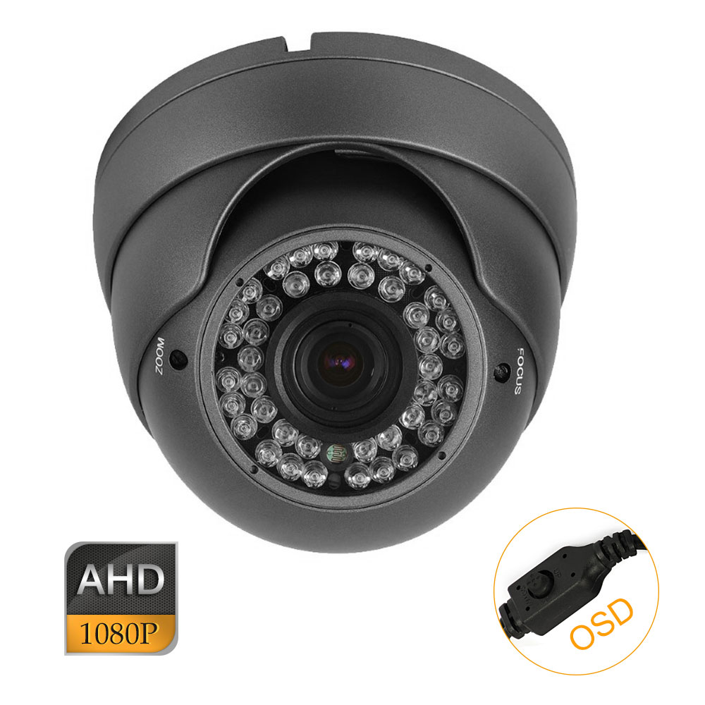 CCTV AHD 2.0MP HD 1080P 2.8-12mm Zoom Lens IR-Cut Metal Dome Camera OSD
