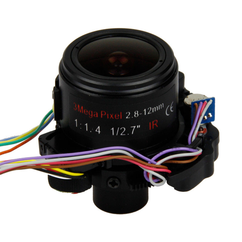 "3 MP 1/2.7"" F1.6 2.8-12mm Motorized Automatic Zoom Lens D14 Mount"
