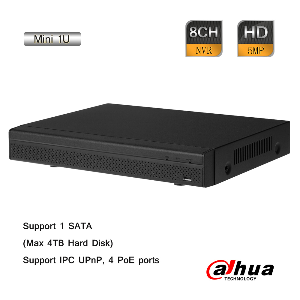 Dahua 8CH 1920P Mini 1U 4 PoE Network Video Recorder 80Mbps ONVIF 2.4 P2P H.264