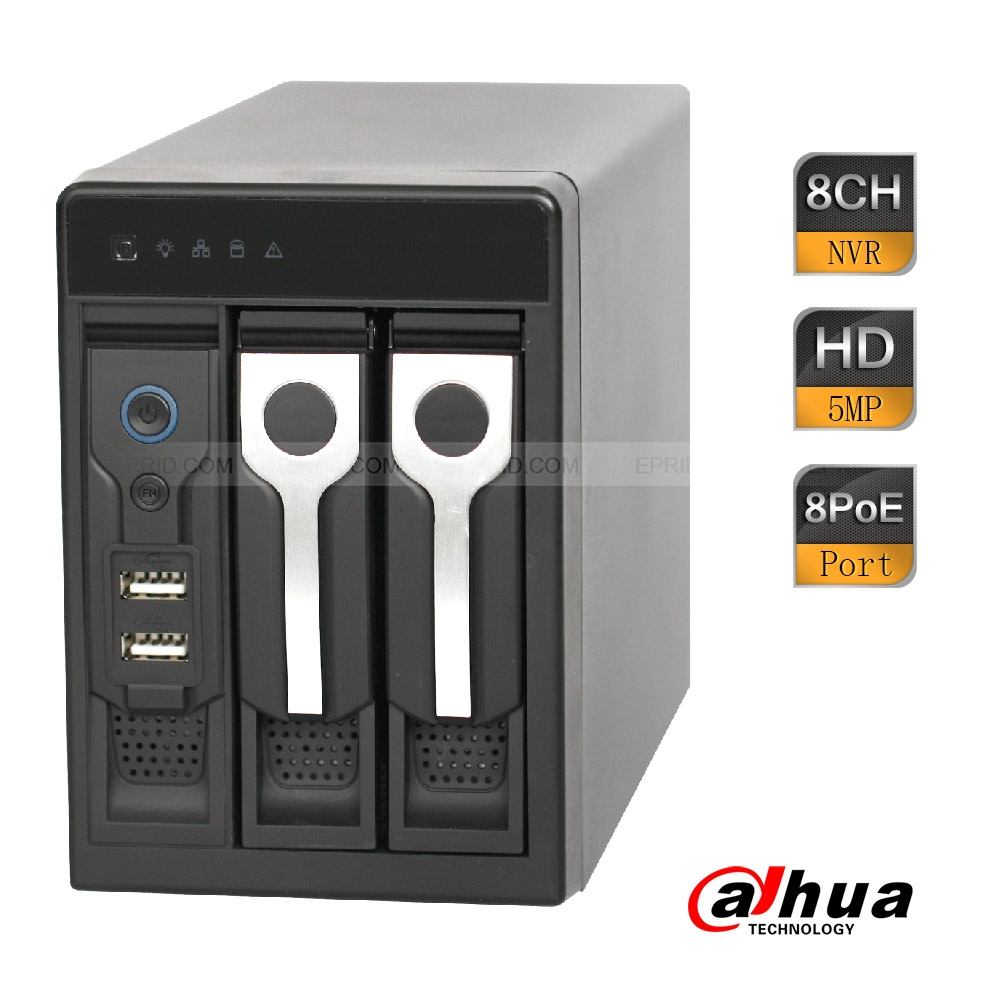Dahua 8CH 2SATA 3USB 8PoE Vertical Network Video Recorder Gigabit 200Mbps 5MP ONVIF