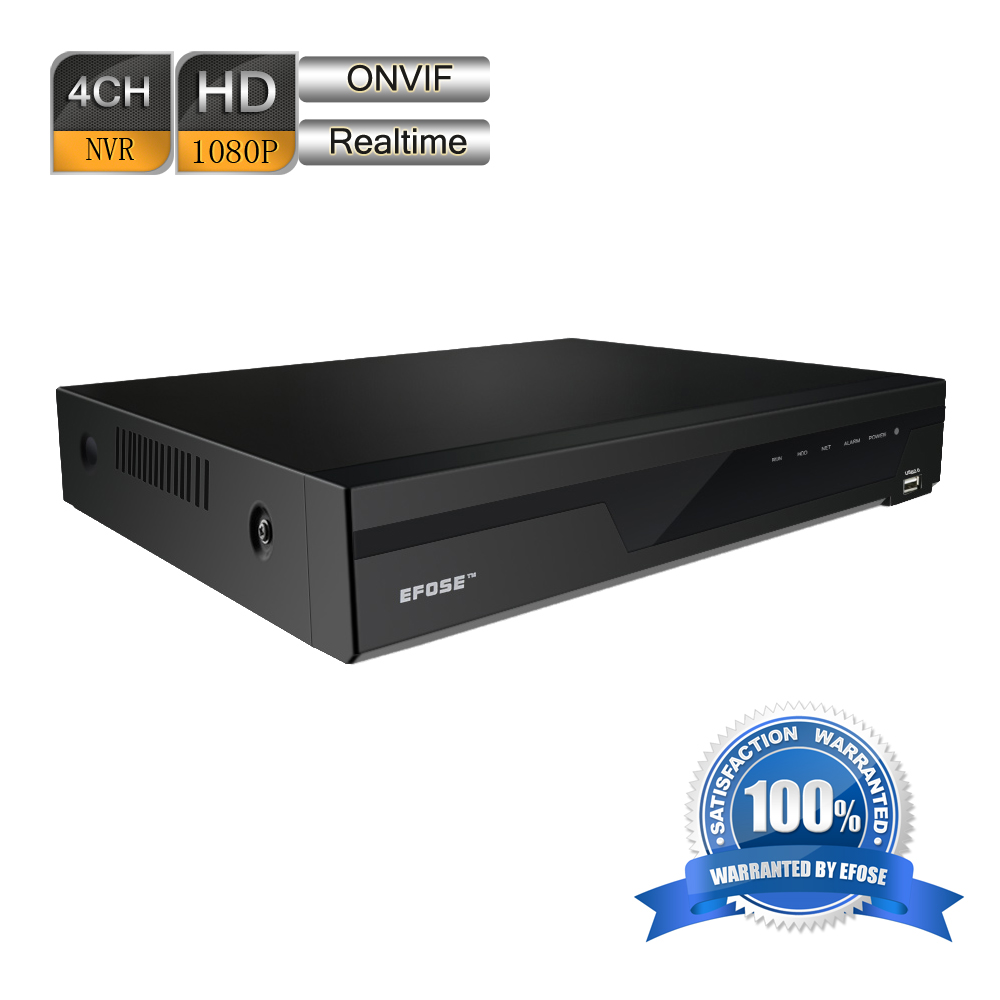 EFOSE 4 Channel HDMI 1080P Real-Time ONVIF 1U Network Video Recorder CCTV NVR