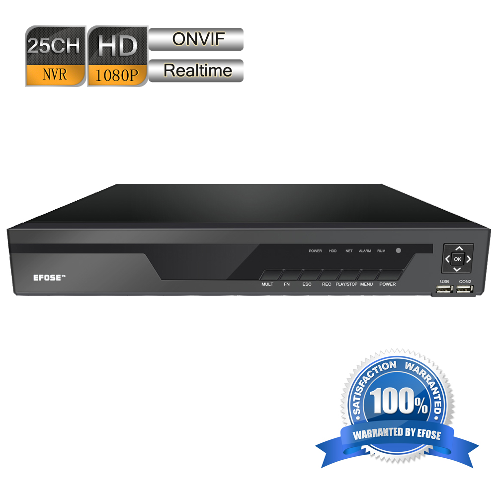 EFOSE 25 Channel HDMI 1080P Real-Time ONVIF 1.5U Network Video CCTV NVR