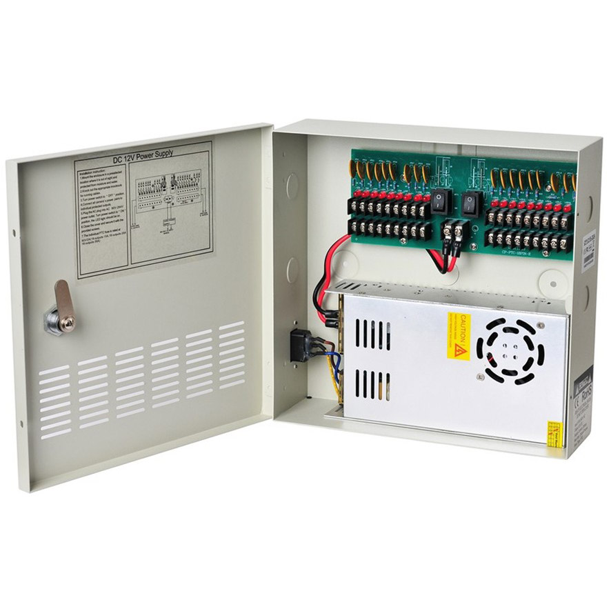 18CH Security DC 12V 20A Output Power Supply Switch Box