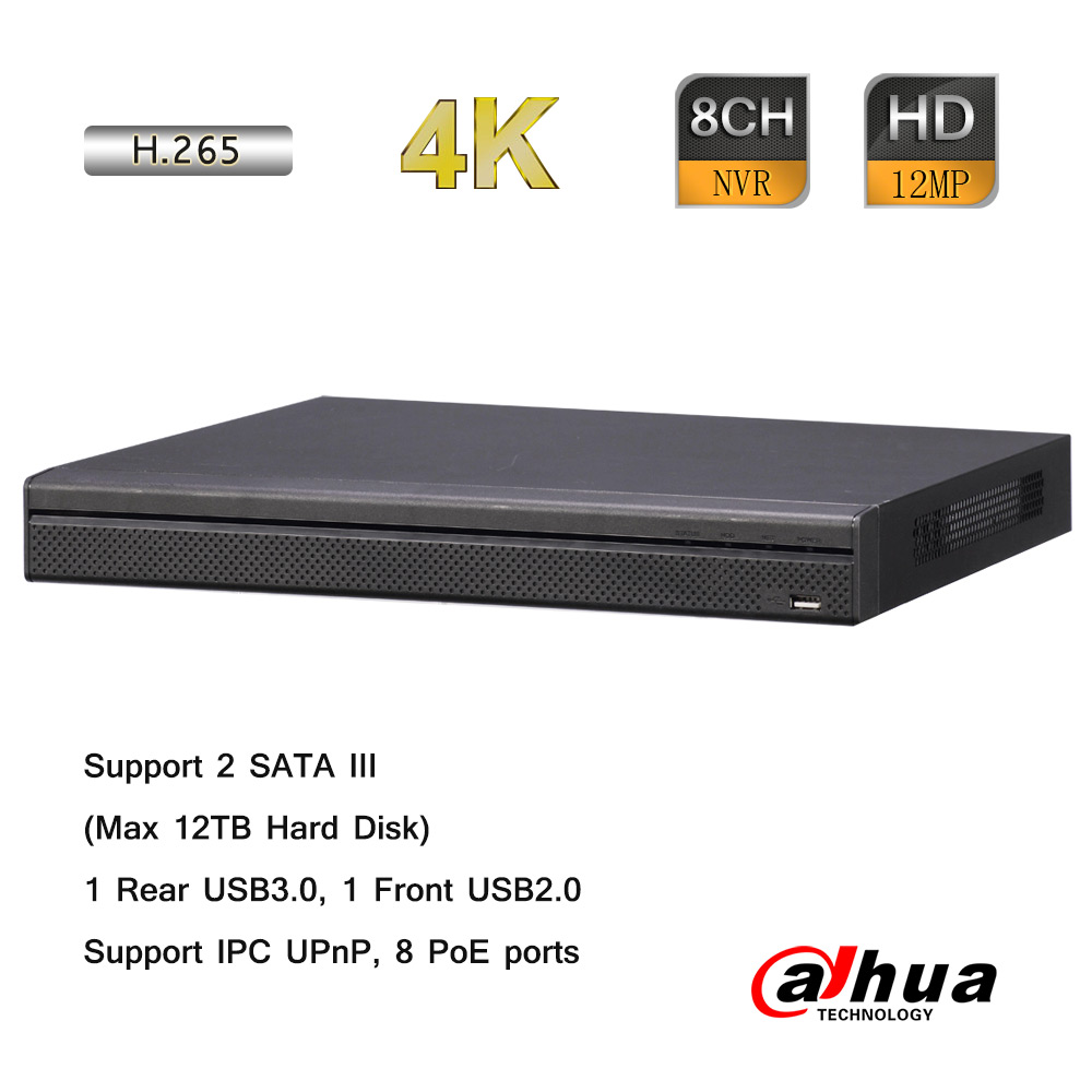 Dahua 8CH 1.5U 4K H.265 8PoE Network Video Recorder 256Mbps 12MP 2 SATA 12TB