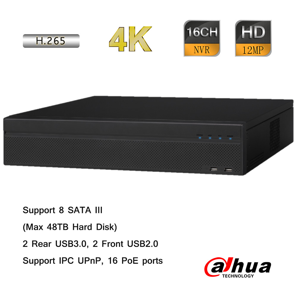 Dahua 16 Channel 4K NVR 16-Port POE 2U Case 48TB HDD Capacity Onvif 8MP 256Mbps